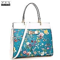 Deals on Dasein Flowery Design and Gold Accent Bow Satchel Handbag