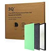 3Q True HEPA Replacement Filter Set - True HEPA, Charcoal & Activated Carbon Filters - for 3Q-AP-300H Air Purifier