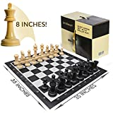 outdoor chess table LifeSmart Large Roll Up Chessboard and Chess Set Oversized Chess Board 3 Feet by 3 Feet 8-inch Tall King