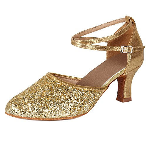HIPPOSEUS Women's Gold Glitter Leatherette/Sequins Latin Dance Shoes Ballroom Dancing Shoes,Model MF1802-5-7, 5 B(M) US