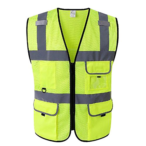 Mesh Ultra Cool (GOGO 5 Pockets Ultra Cool Mesh Safety Vest, Mesh Volunteer Vest, ANSI Standard for Men and Women-Yellow-L)