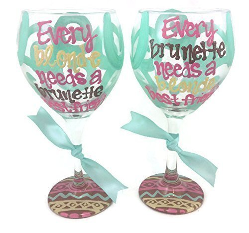 Zeta Phi Beta Glass (Set of 2 - Hand Painted - Every blonde needs a brunette best friend