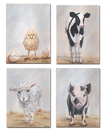 Modern Farmhouse Decor, Set Of 4, Farm Animal Art, French Co