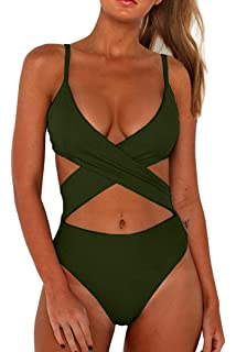 c543fea1f73d CHYRII Women's Sexy Criss Cross High Waisted Cut Out One Piece Monokini  Swimsuit