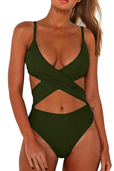 9a530f7838f CHYRII Women's Sexy Criss Cross High Waisted Cut Out One Piece Monokini  Swimsuit
