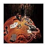 Polyester Square Tablecloth,Western,Gambler Holding a Revolver Gun Poker Cards Table Drinks Cigars Dark Saloon Decorative,Orange Brown Black,Dining Room Kitchen Picnic Table Cloth Cover,for Outdoor In