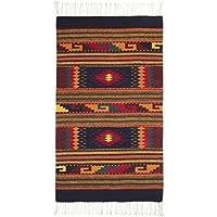 NOVICA Multicolor Wool Geometric Area Rug (2.5 x 5) Joyous Sky