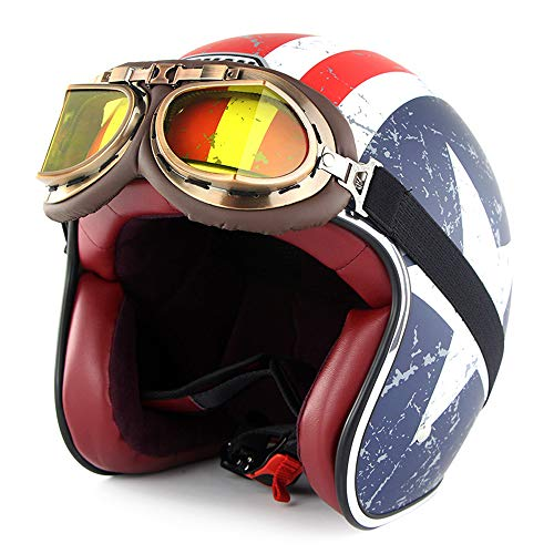 Motorcycle Open Face Helmet Harley Helmet Retro Print Captain America Five-Pointed Star Banner Adult Half Face Breathable Scooter Protective Gear Helmet Men and Women Gifts,Blue,L(22.8