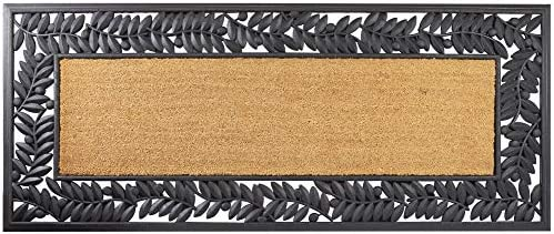 Leaves Wrought Iron Rubber Mat with Plain Coir 24 x 57 Inches