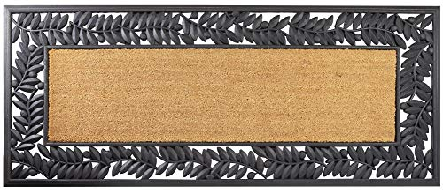 - Leaves Wrought Iron Rubber Mat with Plain Coir 24 x 57 Inches