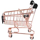 Baoblaze Novelty Mini Shopping Cart Trolley Toy - Pen/ Pencil/ Cards Holder Desk Accessory - Rose Gold S