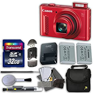 Canon PowerShot SX610 HS 20.2 MP Digital Camera (Red) with 18x Optical Zoom and Built-In Wi-Fi with 32GB High Speed Memory Card & Extra Battery + Accessory Bundle (12 Items)