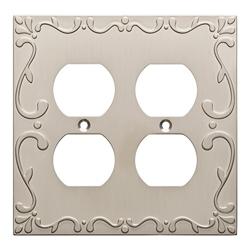 Franklin Brass W35076-SN-C Classic Lace Double Duplex Wall Plate/Switch Plate/Cover, Satin Nickel (Double Duplex Solid Brass)