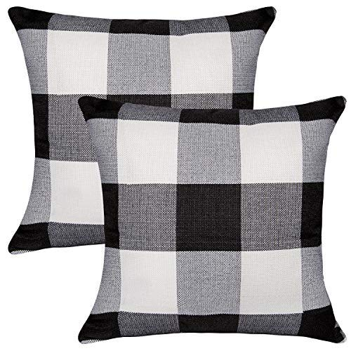 (Unves Plaid Throw Pillow Covers, 18x18 Set of 2 Classic Retro Checkers Plaids Decorative Pillows Cotton Linen Couch Sofa Pillow Covers Bedroom Living Room Toss Pillows Throw Pillow Set, Black)