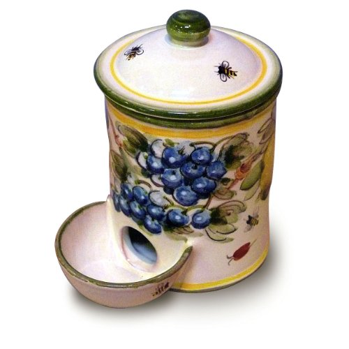 (Toscana Hand Painted Bees Salt Container with Bowl From Italy)