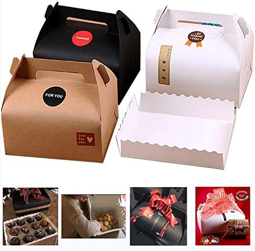 Chilly – Cajas de Regalo, decoración Caja de Regalo de Papel Kraft, Set de 10 bandejas de panadería Masa de Tarta Cupcake Cookies Chocolate Box, y 37 Pegatinas Incluidas (3 Colores): Amazon.es: Hogar