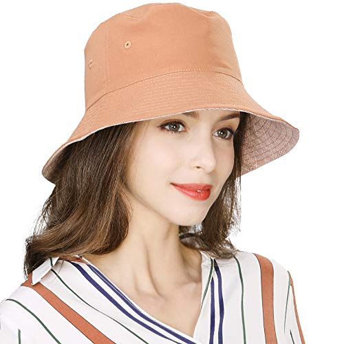 Summer Beach Bucket Hat for Women Fishing Hunting Travel Plaid Packable Foldable UPF50+ Sun UV Protection Caramel - Ladies Cotton Bucket Hat