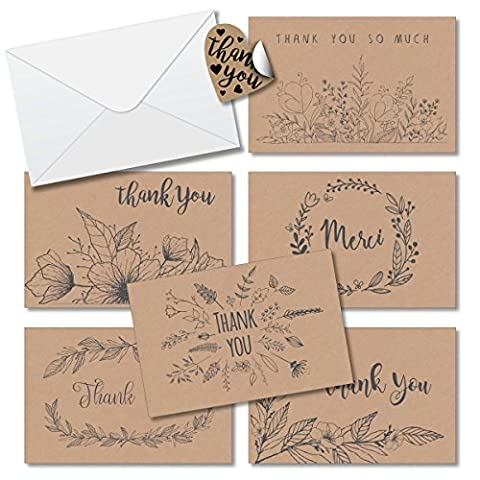 Thank You Cards Box Set Assortment 6 Unique Floral Designs - 36 Pack of Kraft Paper Cards 4 x 6 inches Blank inside with Envelopes Free - Felt Tip Font