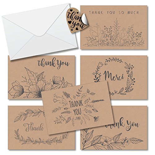 Thank You Cards Box Set Assortment 6 Unique Floral Designs - 36 Pack of Kraft Paper Cards 4 x 6 inches Blank inside with Envelopes Free Stickers