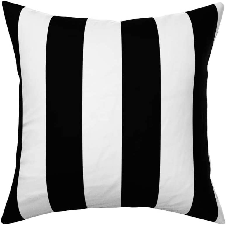Roostery Throw Pillow Vertical Stripes Black And White Stripes Classic Simple Traditional Print Linen Cotton Canvas Knife Edge Accent Pillow 18in X 18in With Insert Home Kitchen Amazon Com