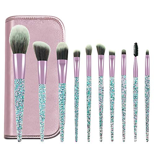 soled Makeup Brushes, Makeup Brush Set, 10 PCS Premium Crystal Handle Synthetic Essential Cosmetics Brush Kit with Leather Bag for Face Powder Foundation Blending Blush Concealer Eye Shadow Brush