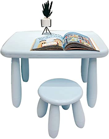GSAGJzz Mesa de Estudio y Silla for niños, Silla de Mesa for Juegos/Dibujo for niños pequeños, Mesa de Escritorio for Juegos Infantiles (Color : Blue): Amazon.es: Hogar