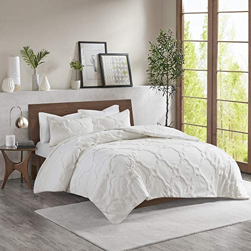 Madison Park Pacey Comforter Reversible Solid Tufted 100% Cotton Chenille Shell Cover Medallion Geometric Shape Soft Down Alternative Hypoallergenic Fill All Season Bedding-Set, Queen, White