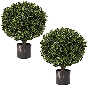 "Image of 24' Tall 16"" Round Artificial Topiary Ball Boxwood Trees (Set of 2) by Northwood Calliger 