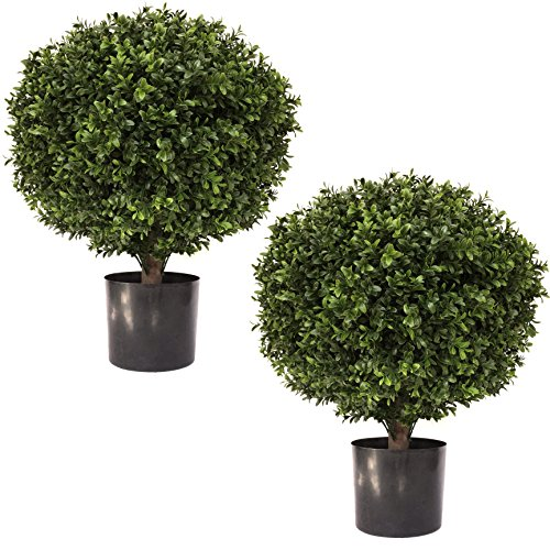 "LIMITED TIME LOW PRICE FOR FIRST TIME ON AMAZON | 24"" Tall 16"" Round Artificial Topiary Ball Boxwood Trees (Set of 2) by Seven Oaks 