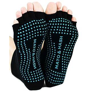 Mato & Hash Toeless Half Toe Yoga Socks With Grip 3 PK Black/Scuba Blue M/L