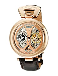 Stuhrling Original Men's 127A.334553 Special Reserve Emperor's Grandeur Automatic Skeleton Dual Time Rose Tone Dial Watch