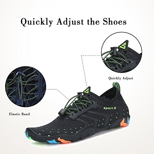 WYSBAOSHU Men Women Athletic Water Shoes Barefoot Aqua Socks Quick Dry Sports Shoes for Pool Beach Walking Yoga 5#black 5DR5S
