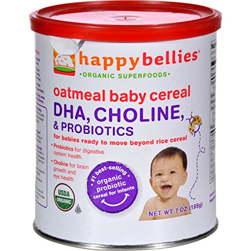 Happy Baby Happy Bellies Cereal - Organic Oatmeal - 7 oz - Case of 6 - 95%+ Organic -