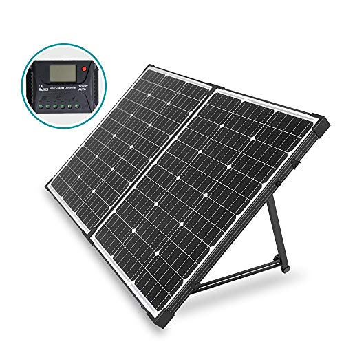 HQST 100 Watt 12 Volt Off Grid Monocrystalline Portable Folding Solar Panel Suitcase Built-in Kickstand with Charge Controller for Both Generator and 12V Battery for RV Marine