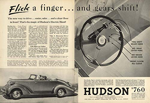 Flick a finger and gears shift! Hudson Super Convertible Coupe ad 1936