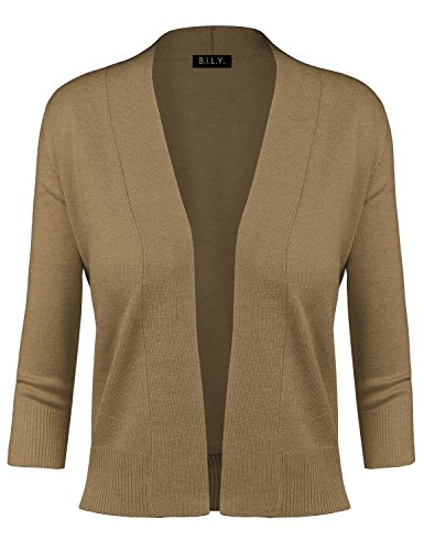 BH B.I.L.Y USA Women's Classic Open Front Cropped Cardigan Camel Small ()