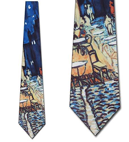 Ralph Marlin Mens Van Gogh Outdoor Cafe Necktie - Black - One Size Neck - Ralph Marlin Mens Necktie