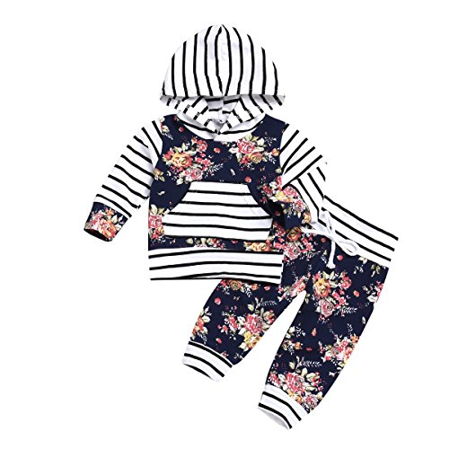 XiaoReddou Baby Girls Boys 2pcs Set Outfit Flower Print Hoodies with Pocket Top+Striped Long Pants (Black+White, 0-6 Months)