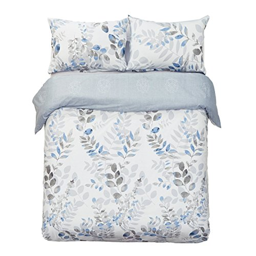 Duvet 100% Cotton Cover (Word of Dream 250TC 100% Cotton Floral Print Duvet Cover Set 3 PC, Leaves Pattern, King)