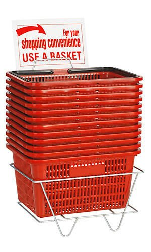 12 Red Shopping Basket Set Standard-Size w/ Plastic Handle Display Rack & Sign