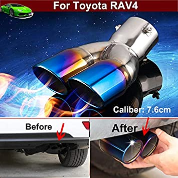 New Car Truck Modification Chrome Stainless Steel Exhaust Rear Tail Pipe Tip Tailpipe Muffler Pretector Blue Color Custom Fit For Toyota RAV4 2013 2014 2015 2016 2017 2018