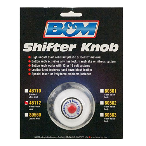 B&M 46112 White Replacement Shifter Knob with Button and SAE Threads ()