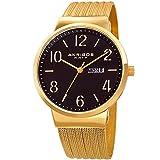 Akribos XXIV Gold Designer Men's Watch – Slim Stainless Steel Fine Mesh Fashion Bracelet Wristwatch – Quartz Movement, Day and Date – AK996YG