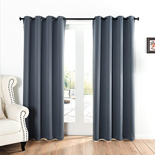 52x84-Inch Grommet Top Blackout Curtains for Bedroom with 2 Tie Backs, Dark Grey09