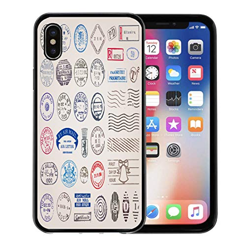 Semtomn Phone Case for Apple iPhone Xs case,Travel of 39 Vintage Postage Stamps from Countries All Over The World Post Postal for iPhone X Case,Rubber Border Protective Case,Black