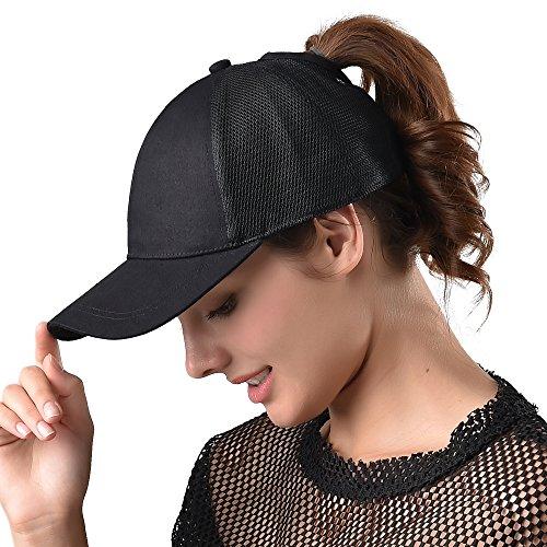 FURTALK Womens Messy Bun Ponytail Mesh Outdoor Trucker Hat Adjustable Snapback Blank Baseball Cap Hat ()