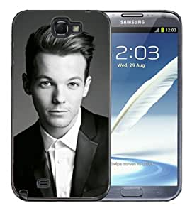 Samsung Galaxy Note 2 Black Rubber Silicone Case - 1D Louis One D Direction Band Pop Music
