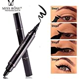Miss Rose Dual Eyeliner Pen And Winged Stamp, Black.