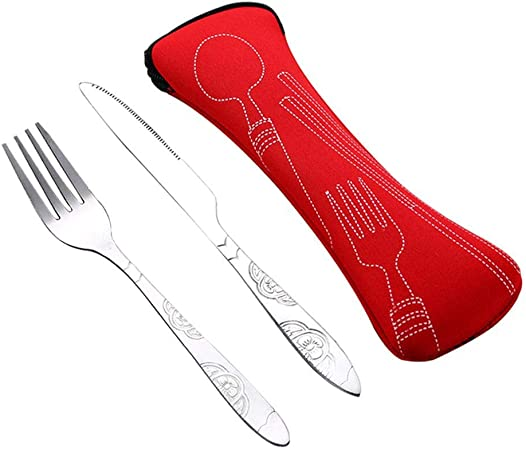 voyages cuillère baguette l/'acier inoxydable couteau fourchette sac de mobiles