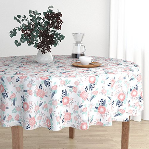 Roostery Round Tablecloth - Pastel Posy Flower Baby Girl Cute Fabric Petals Leaves Mint Florals Flower by Charlottewinter - Cotton Sateen Tablecloth 90in